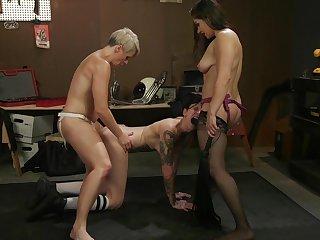 Helena Locke and her slutty girlfriends in a BDSM lesbian threesome