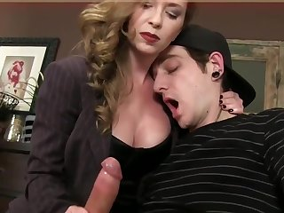 Bossy Domina T jerking jism in fetish spandex gloves