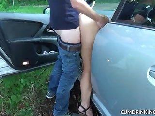 Car intercourse gangbangs with wild slutwife