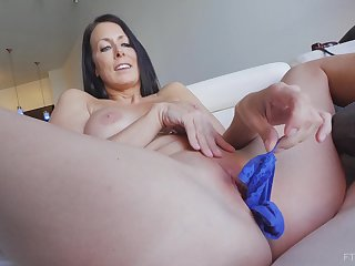 Brunette MILF Reagan stuffs her panties in her pussy and masturbates