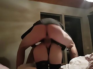 Lovemaking in the bedroom. Rides until she cums and then fucked from behind