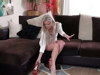 Glamorous blonde Alana Luv is finger fucking tasty looking pussy