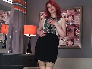 Lewd ginger Cee Cee is mature whore loves to rub her old pussy tenderly