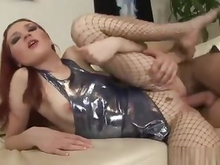 Russian redhead Leah in fishnets have a great anal pleasure