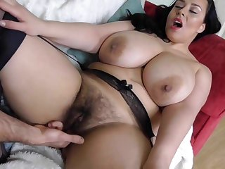 Hairy busty British MILF takes big white cock