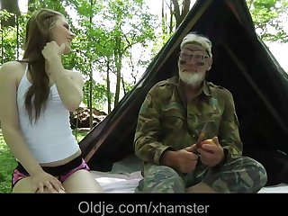Solitary Grandpa fucks blonde teeny in the forest