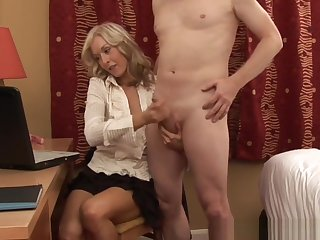 Clothed Blonde Tugs Cock