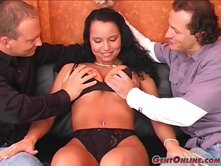 Laura Lion gets her tits lubed and holes drilled and filled with cum