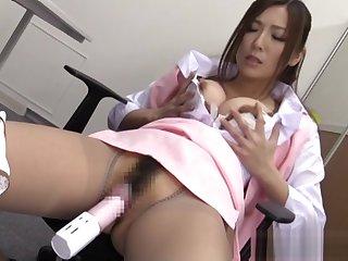 Yuna Shiina is a horny office lady enjoying masturbation