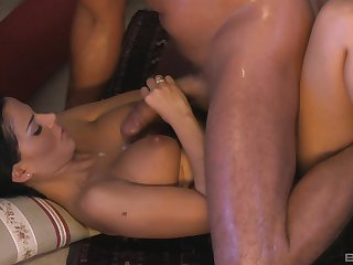 Angelika Black gets cum on her gorgeous perky natural tits