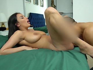 Busty mom leaves step son to cum in her