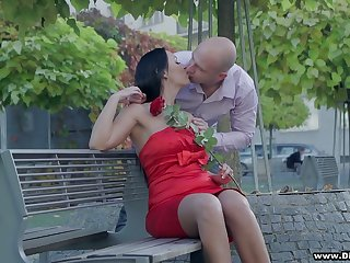Bodacious brunette in red dress Rebeka is having sex on the first date