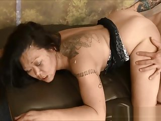 Asian MILF bitch Jeanna Silks throat and cunt abused hard