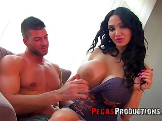 Giant breasted curly black head Amy Anderssen gives titjob and rides fat prick