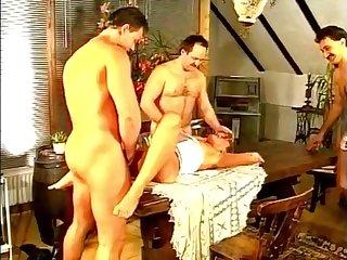 short haired german MILF gets gangbanged retro porn