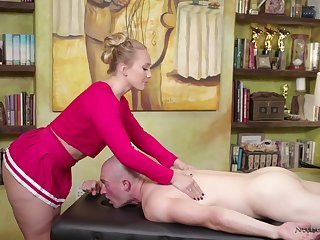 Amazing bootyful masseuse AJ Applegate is eager to ride fat long cock