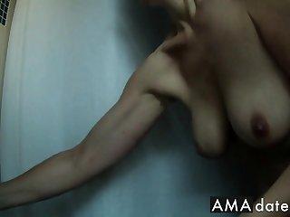 shower spy cam on busty hard nippled mature - compilation