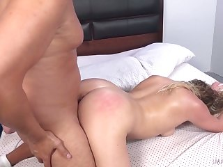 Wild ordinary looking slut with big booty Mickey Tyler rides fat cock