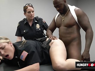 Moaning female cops get hot on the job