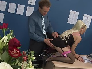 sexy secretary Cindy Behr adores hard fuck with her colleague in her office