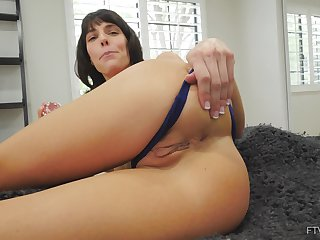 Horny solo model Lexi plunges her ass with a dildo for her fans