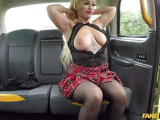 Cougar Princess Eve lifts her miniskirt to be fucked by the driver