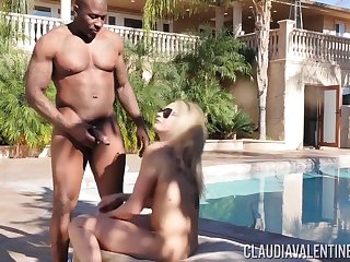 Blonde Claudia Valentine takes a BBC deep up her fat ass