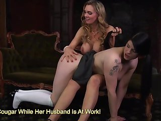 Natural tits Tanya Tate and Lucia Love masturbating herself on couch