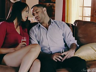 Amazing dark haired housewife Reagan Foxx is polished mish and doggy