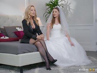 Jillian Janson and Nina Hartley share groom's cock before the wedding