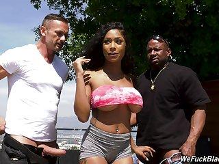 Inked ebony bombshell Sarai Minx sprayed with cum in a gangbang