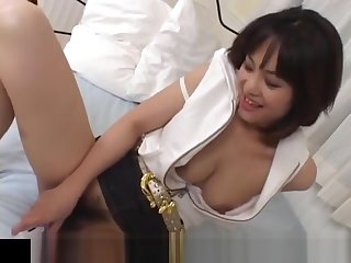Mako Takeda spreads legs for hunk to rub her hairy twat
