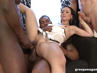 Inked babe with pigtails Lulu Jung takes loads of cum in a gangbang