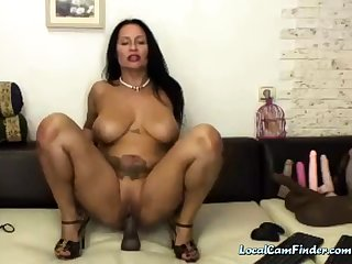 Hot, horny 50 year old Latina MILF rides dildo!